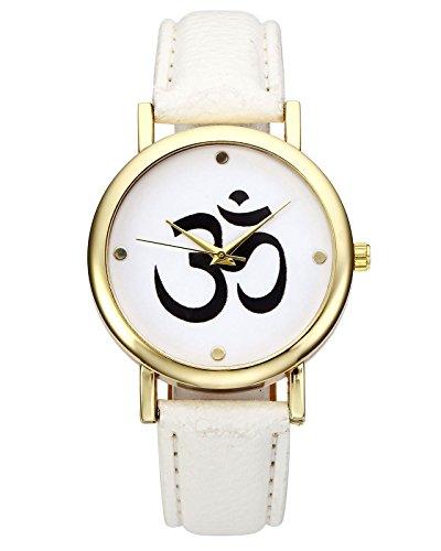JSDDE Unisexe Montre Bracelet Yoga Sanskrit Om Quartz Boîtier Or PU Cuir (Blanc)