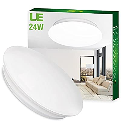 LE 24W Daylight White Ø41cm LED Ceiling Lights, 180W Incandescent(50W Fluorescent) Bulbs Equivalent, 2000lm , 6000K, Flush Mount Ceiling Lights, Flush Ceiling Light for Living Room, Bedroom, Dining Room, Ceiling Light Fixture