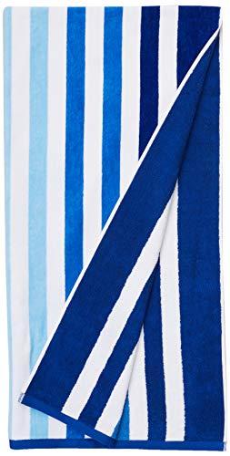 AmazonBasics - Hochwertige Strandtücher - 2-teiliges Set - Streifen mit blauem Farbverlauf