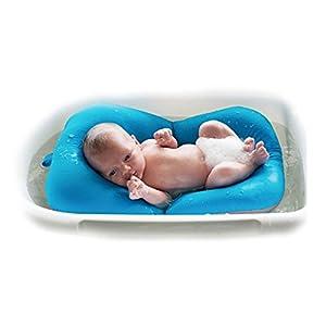 Infant Baby Bath Pad Mat, 4EVERHOPE Floating Soft Infant Bath Pillow/Lounger Newborn Bath Tub Air Cushion (Blue)