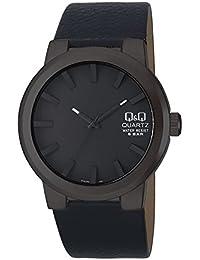 Q&Q Los hombres de moda de cuero Q740J502Y análogo de cuarzo Negro banda reloj
