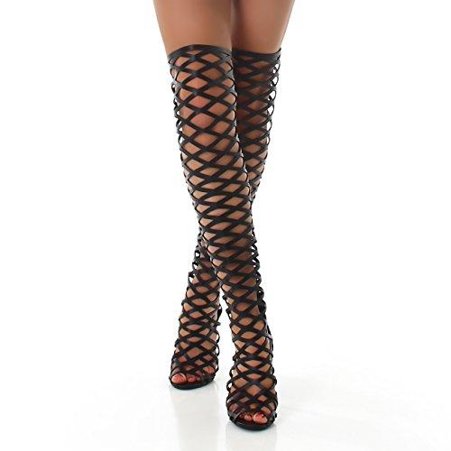 Jela London Stiefel High Heels Boots Overknee Netz Opik Absatz Kunstleder Gr. 37-41 Schwarz 38 (Gold Stiefel Heel High)