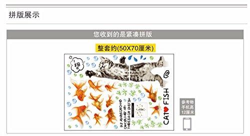 Wandtattoos WandbilderWandsticker Papiersticker Kinder Zimmer Kindergarten Klassenzimmer Schlafplatz Wand Wanddekoration Cartoon Simulation Katze Goldfisch 50 * 70cm