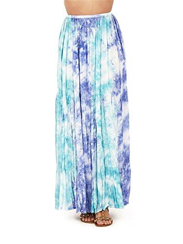 Pistachio, Style hawaïen Tropical Summer Long jupe robe de dames Bleu Tie Dye