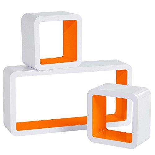 Woltu rg9229or mensole da muro mensola a cubo scaffale parete libreria cd legno mdf moderno 3 pezzi diametro diverso arancio-bianco
