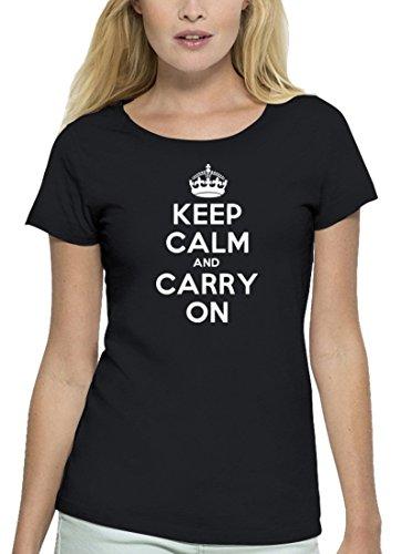 Premium Damen T-Shirt aus Bio Baumwolle Keep Calm and Carry On Stanley Stella Black