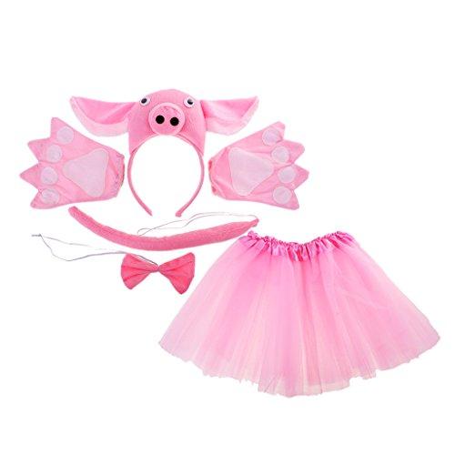 MagiDeal Cosplay Kostüme Tierkostüme Set - Ohren Stirnband, Schwanz, Fliege, Handschuhe, Rock - Für Kinder - Schwein