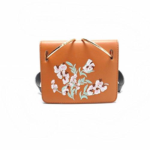 Ribbon frauen kleine quadratische tasche personalisierte Stickerei wilde Schulter messenger bag Braun