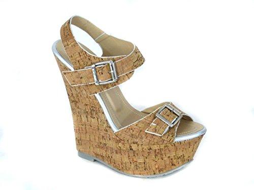 Mesdames pour femme Soutien-gorge Effet Boucle Haute Wedge Talon Plateforme en liège Peep Toe chaussures sandale différents Designs Taille 345678 silver