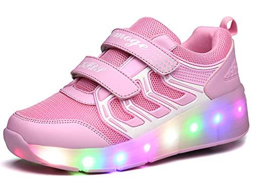 Zapatillas de Ruedas con Luces con Ruedas Zapatillas de Deporte LED Zapatillas de Patìn Roller Sneakers...