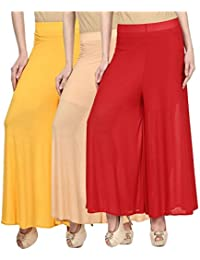 OOPLI Pack-3 Elastic Waist Wide Leg Flared Lycra Palazzo Pants For Women's-Free Size