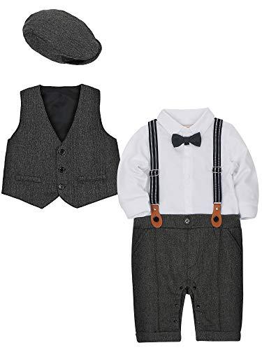(CARETOO Baby Jungen Bekleidungssets 3tlg Strampler + Weste + Hut Fliege Krawatte Gentleman Set Baby Taufe Anzug)