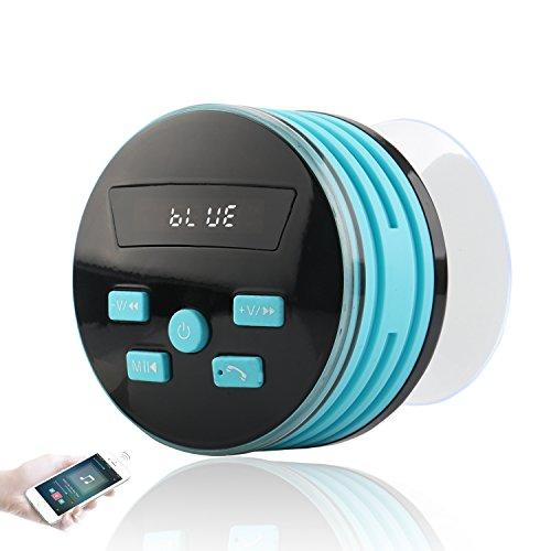 Expower IPX7 Bluetooth Lautsprecher,Mini Bluetooth Lautsprecher mit FM Radio 5W Tragbarer Duschradio Wasserdichte Wireless Lautsprecher Freisprecheinrichtung für Outdoor, Dusche Blau