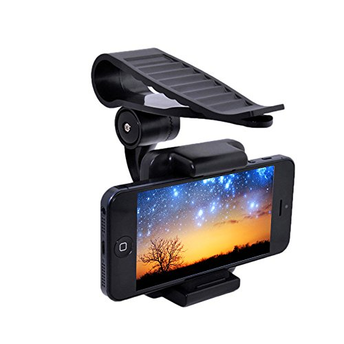 thanly supporto cellulare auto universale 360 girevole supporto Auto Sole Visiera Clip Staffa per GPS iPhone 5 5S 5 C 6 6S Plus SE Samsung Galaxy S7 S6 S5 S4 S3, HTC, 35 - 90 mm]