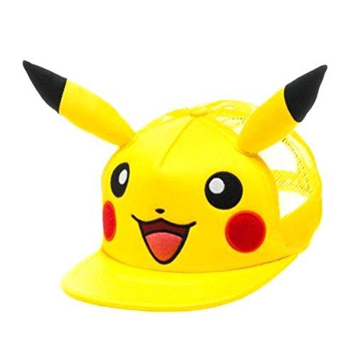 Casquette de Baseball de la Snapback de caractère officiel Pokémon Pikachu avec oreilles 3D - unique taille