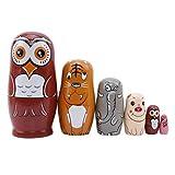 Jixing 6 Stück russische Matrjoschka Nesting Dolls aus Holz handgefertigte Eule Nesting Dolls