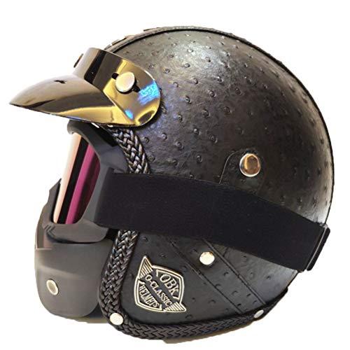 Retro Leder Pilot Motorradhelm Männer Frauen Universal Jet Elektroroller Helm Professionelle Klassische 3/4 Jethelm - Retro Daytona Leder