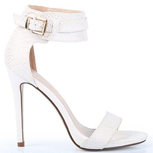 Ideal Shoes 3D-Drucke Milana Reptilien Weiß - weiß