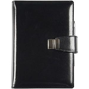 Echtes Leder Agenda - Elegant - Täglich 15x21 Täglich-wöchentlich 17x24 schwarz