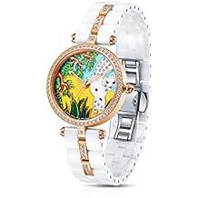 Time100 W50352L.05A Lujo Mujeres Joyería de diamante Correa de cerámica reloj de cuarzo mujer con venado