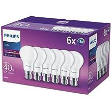 Philips LED (5,5W (40W) A60B22, casquillo de bayoneta, bombillas blanco cálido, Escarchado,–Pack de 6,, B22, 5. Watts, 6unidades)