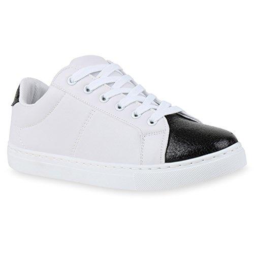 Damen Sneakers | Sneaker Low Metallic Cap | Sportschuhe Leder-Optik Glitzer | Freizeit Schnürer Prints Samt | Trainers Allyear Weiss Schwarz Metallic