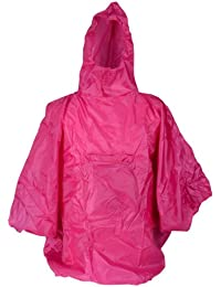 Ladies Showerproof Fashion Poncho in Pouch ~ Ideal for Festivals / Camping (Plain Pink)