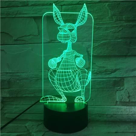 Cartoon Tier Känguru visuelle Tischlampe Farbwechsel Schlaf Nachtlicht direkt