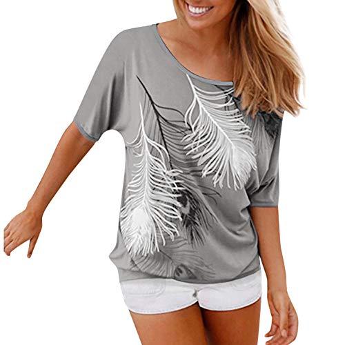 T-Shirt Femme Col Rond ÉPaules DéNudéEs Manches Courtes Tee Shirt Top Haut Imprimé Plume Taille Loose Kinlene