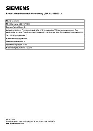 Siemens VSQ4GP1264 Q 4.0 Bodenstaubsauger EEK D (green power allergy, 5 L Staubbeutelvolumen, inklusive umfangreichem Zubehör) schwarz - 3