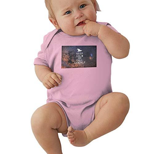Strampelanzug, mit Aufschrift Keep Calm and Call Gandalf, reines Baumwollgewebe Gr. 12 Monate, Rose