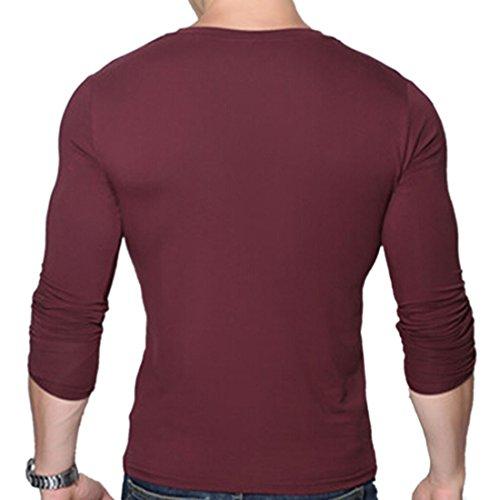 QIYUN.Z Mens Camicie Maniche Lunghe Casuale Muscolare Sottile V Collo Di Piani Di Base Bord¨°