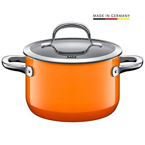 Silit Passion Orange Koch/- Fleischtopf, hoch, 16cm, Glasdeckel, 2,0l, Silargan Funktionskeramik, Topf Induktion, Auslaufmodell, orange