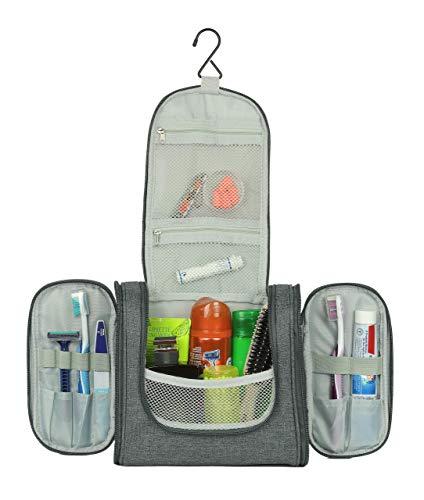 SONTOKO Kompakter Kulturbeutel zum Aufhängen | Reise-Kulturtasche für Männer & Frauen - Stabile & Wasserresistente Kosmetiktasche (Canvas Optik Anthrazit Grau)