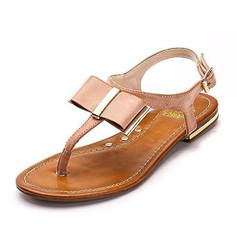 Alexis Leroy Women's Comfortable Bowknot Toe Post Sandals Camel 6 UK / 39 EU