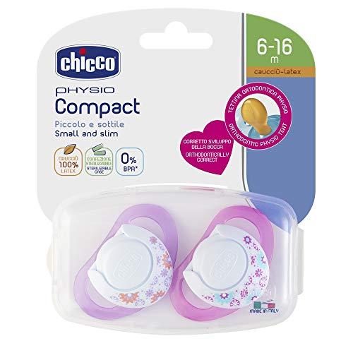 Chicco 00074823110000 Compact Bambina Succhietto, Caucciù, 6-12 Mesi, Rosa, 2 Pezzi