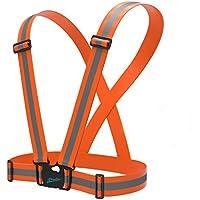 Newyond-Gilet riflettente, la cintura a 360°, alta visibilità per la sicurezza all'aperto: per la corsa, ciclismo, corsa, etc. Arancione