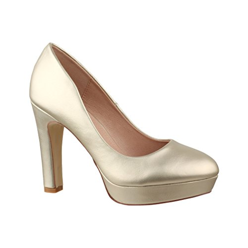 Elara Moderne Damen High Heels | Stiletto Schuhe | Plateau Pumps | Chunkyrayan E22321 Gold-39