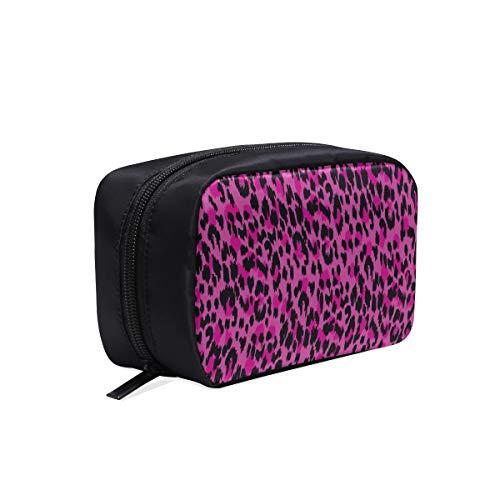 Schöne rosa leopardenhaut tragbare reise make-up kosmetiktaschen veranstalter multifunktions fall kleine kulturbeutel für frauen und männer bürsten fall