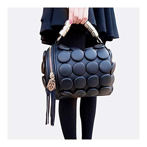 XUZISHAN Damen Handtaschen Boston Taschen Damen Quaste Button Messenger Taschen Leder Umhängetaschen Designer Bucket Bag Kupplung Schwarz -