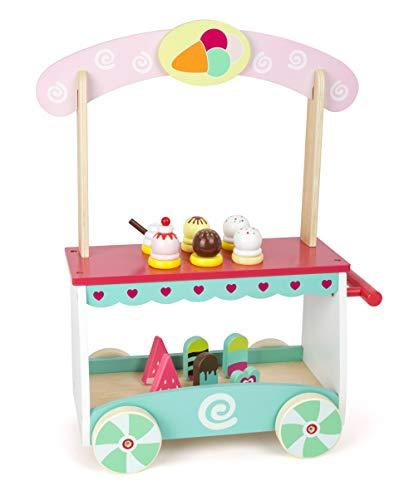 small foot 11065 Eiswagen aus Holz, auf beweglichen Rädern, mit 12 verschiedenen Eissorten Spielzeug, Mehrfarbig