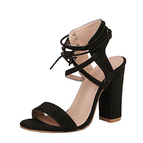 Longra Damen High Heels Sandaletten mit Schnürung Schwarz Sandaletten Damen Sommer Plateauschuhe mit Absatz Gladiator Sandalen Stiefeletten Schuh Frauen Elegante Riemchensandalen (EU:42, Black) (Team-flip-flop-sandalen)