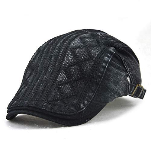 FUBULE Männlicher und weiblicher Kappen-Twill-rautenförmiger Gestickter Linie Tendenz-im Freien beiläufiger Hut (Color : Black, Size : 56-60cm) Twill-kappe
