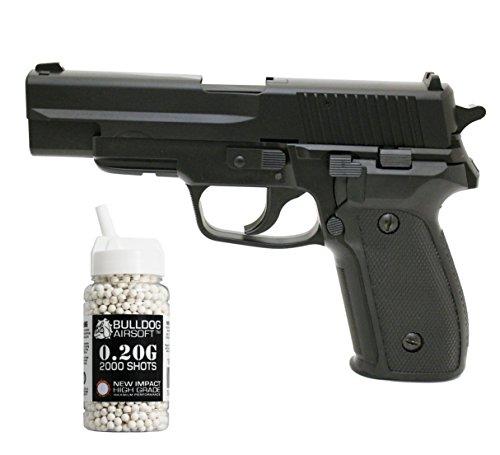 Preisvergleich Produktbild HFC HA-113 Softair Federdruck Pistole P226 Stil Schwarz,  0.5 Joules,  GRATIS 2000 BULLDOG BBS 0.20G