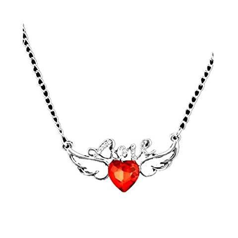 Collier avec Pendentif Ailes d'Ange Coeur en Strass Rouge Couleur d'Argent