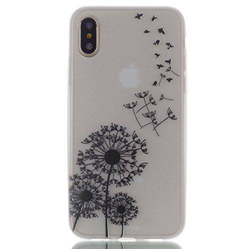 Für iphone X,Sunrive Schutzhülle Etui mit Nachtleuchtende Funktion Hülle TPU Silikon Rückschale Silicon Cover Tasche Case Bumper Abdeckung Handyhülle(Love Heart )+Gratis Universal Eingabestift Dandelion 1