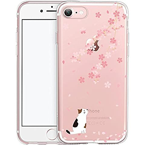 iPhone 7 Case, TrendyBox Cute Cartoon Case for iPhone 7 (Cherry Blossom and White Cat)