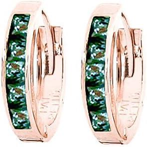 QP zafiro Natural pendientes de aro en joyería 9ct oro Color de rosa - corte de la princesa 1.30ct 1681R