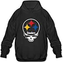 Elegante 100% algodón Steelers Skull Sudadera con capucha negro