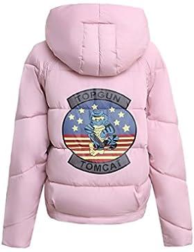 DFUCF Women's Short Jacket Cotone Top Warm Fashion Pink Slim Inverno
